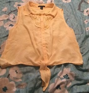 Sheer Yellow forever 21 tie front blouse